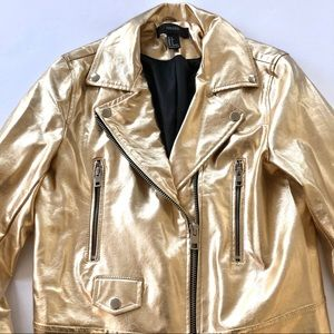Gold Moto Jacket- worn once for photo shoot